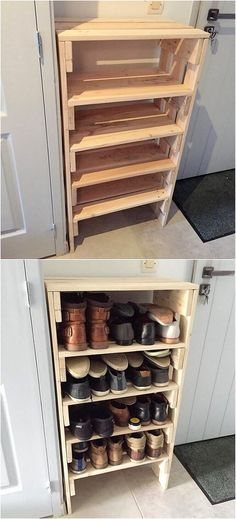 You can often consider using the wood pallet as for the creative and much modish looking shoe rack design of set option. This shoe rack piece of designing has been all carried out with the simple and plain form of the texture work being part of it. It do comprise the shelves in it.
