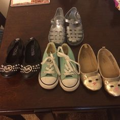 Shoes, All in perfect condition, except the kitty ones, a mark in the front. Gap gray gel shoes(10t), authentic Michael kors flats (11c), teal converse(8c) and the gold gap flats(10c). Shoes