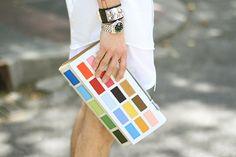 IMG_7530 by princepelayo, via Flickr   Uniqlo shirt, Stella McCartney shorts, Pelayo Diaz x Davidelfin clutch, Hermes bracelet,  Maison Martin Margiela rings, Bond Hardware clasp, COS socks, Aldo shoes