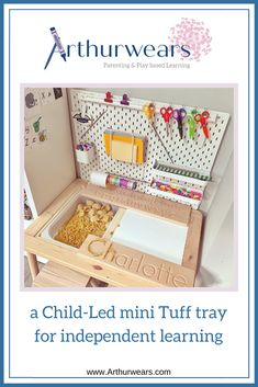 A child-led mini Tuff Tray for independent learning Toddler Sensory Bins, Toddler Play, Baby Play, Kids Play Table, Toddler Table, E Room, Kids Room, Ikea Skadis, Playroom Organization