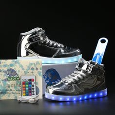 "0e714ef143335 A032 MTOTM® ""Lightning"" Little Kids Sneakers (Silver) Kids Sneakers, High"
