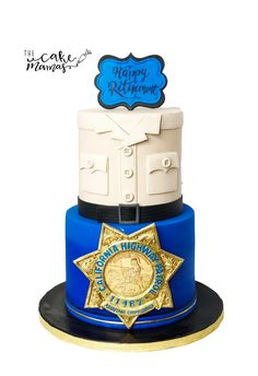 Police Department Retirement Cake! Call or email to book your celebration cake today! #thecakemamas #police #retirement #cake #retirementcake #celebration