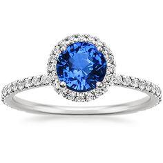 Sapphire Waverly Diamond Ring in 18K White Gold, 6mm Round Blue Sapphire