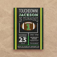 Football Birthday Invitation - first birthday - boys football invitation - DIY Printable Invitation - Design #16