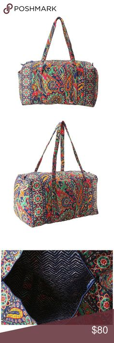Vera Bradley Venetian Paisley Large Duffle Bag Vera Bradley Venetian Paisley Large Duffle Bag. I love this duffle! It fits everything and is the perfect size for a carry on. I have never had trouble fitting it in the overhead compartments for flying. This duffle is used, but shows no sign of wear. No rips or stains. The first 3 pictures are from the website I ordered it from. Vera Bradley Bags Travel Bags