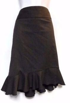 Women's EXPRESS Design Studio Gray Pinstripe Career Skirt with Ruffle Size 6 #ExpressDesignStudio #StraightPencil