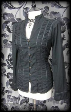 Goth Victorian Black High Collar Ribbon Trim Blouse 10 Steampunk Victoriana | THE WILTED ROSE GARDEN on eBay // Worldwide Shipping Available