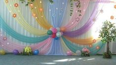 Beautiful Curtains Decorations for Birthday Parties - ArtCraftVila Diy Backdrop, Backdrop Decorations, Balloon Decorations, Baby Shower Decorations, Spring Decorations, Wedding Stage Decorations, Birthday Party Decorations, Birthday Parties, Birthday Backdrop