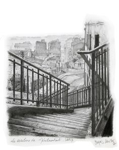 Ménilmontant in Paris. France.  Drawing by Jacques Lahitte