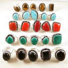 20 PCs Coral,Turquoise,Larimar,Onyx,Tigers Eye Gemstone 925 Silver Plated Rings. #Gajrajgems92_9