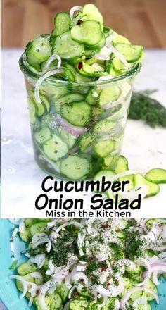 Cucumber Onion Salad, Cucumber Recipes, Salad Recipes, Cucumber Dressing, Dill Salad Dressing Recipe, Recipes With Cucumbers, Avocado Salads, Cucumber Bites, Egg Salad