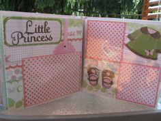 Baby Girl Scrapbook~Pink & Green Floral 8 x 8