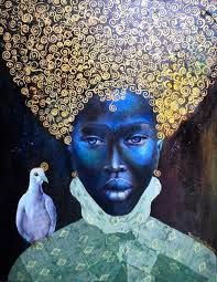 African Artwork #green #yellow #black #africa #history #culture #powerful #africanartwork #art #strong #intricatedetails #tamaranataliemadden African Artwork, African Culture, Female Art, The Darkest, Mona Lisa, Statue, History, Black Queen, Yellow Black