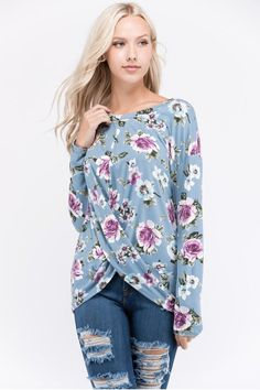 094eba60d0 Long sleeve floral print top with twisted knot front Made in USA 96%  Polyester 4% Spandex