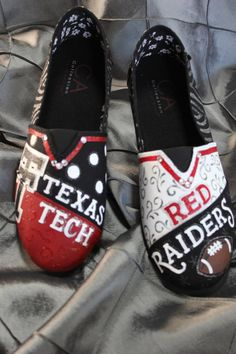 These fun (Toms like) Canvas shoes are hand painted, glittered, and blinged up for that dyed in the wool Red and Black Texas Tech Red Raider