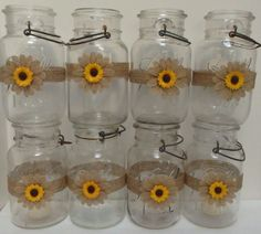 10 Burlap Sunflower Mason Jar  Country Rustic Wedding Party Decorations Wraps S3…