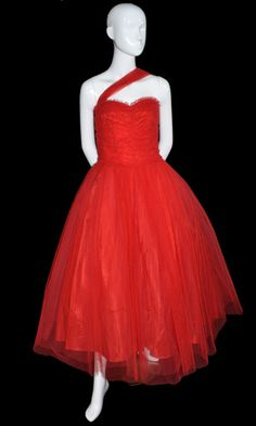 lorrie deb red tulle vintage 1950s dress strapless