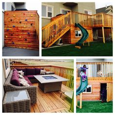 new addition to the deck. We added a bigger adult space, a kids playhouse underneath, a rock climbing wall and a slide all off of the small existing deck. Great use of a small backyard and wasted space around the deck. Small Yard Kids, Backyard Ideas For Small Yards, Small Backyard Landscaping, Backyard For Kids, Backyard Patio, Wedding Backyard, Kids Yard, Backyard Projects, Outdoor Projects