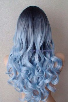 Airy blue fashion hairstyle wig for daily use or Cosplay Light blue Ombre wig. Dark roots Pastel silver blue by kekeshop Blue Ombre Wig, Blue Wig, Ombre Wigs, Ombre Hair Dye, Light Blue Ombre Hair, Dyed Hair Blue, Silver Blue Hair, Silver Ombre, Violet Hair