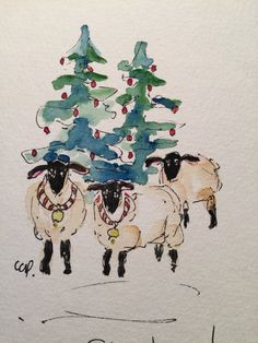 New Drawing Christmas Cards Navidad 57 Ideas Painted Christmas Cards, Watercolor Christmas Cards, Watercolor And Ink, Christmas Art, Watercolor Paintings, Watercolors, Barn Paintings, Handmade Christmas, Sheep Art