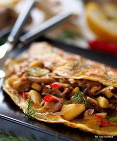 Smaczna Pyza: Omlet z boczniakami i jabłkiem