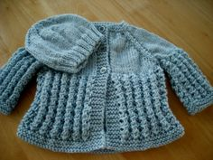Baby Sweater Set infant set hand knit baby girl set by brightcraft