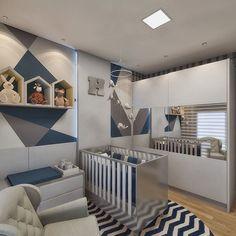 Projeto de interiores para quarto de bebê. Base neutra em cinza na marcenaria e toques de azul nos tecidos e na pintura geométrica da parede. Projeto Guapo Arquitetura e Interiores. #projeto #arquitetura #interiores #arquiteturadeinteriores #decor #decoração #homedecor #homedesign #designdeinteriores #architect #architecture #interiordesign #instadecor #instarender #render #3D #sketchup #3dsmax #vray #vrayrender #archviz #quarto #bedroom #babyroom #quartodebebe #boy #baby #nursery…