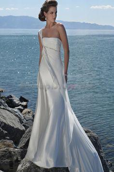 #sheath one shoulder chapel train chiffon beach wedding dress  BW0059  shoulder dresses  #2dayslook #shoulder style # shoulderfashion  www.2dayslook.com