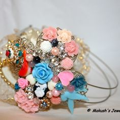 One of a Kind - VINTAGE STYLE FILIGREE HEADBAND WITH ROSES, CAMEOS AND RHINESTON