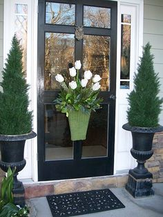 front door planter options, fall and spring, black front door, lion brass door knocker, door basket Front Door Planters, Front Door Decor, Wreaths For Front Door, Front Storm Door Ideas, Urn Planters, Ceramic Planters, Hanging Planters, Black Front Doors, Front Entrances