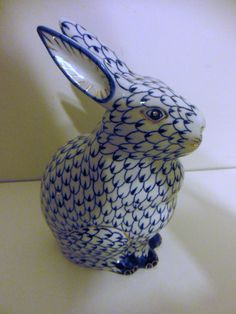 Herend Hand Painted Porcelain Figurine of Sitting Up Bunny, Both Ears Up, Dark Blue Fishnet Design, Possible Gold Accents.