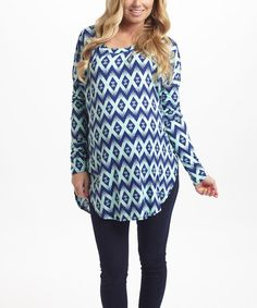 Navy & Mint Diamond Maternity Top by PinkBlush Maternity #zulily #zulilyfinds