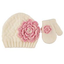 Koala Kids Girls Ivory Knitted Winter Hat with Pink Marled Flower Detail and Matching Mittens Set - Infant/Toddler