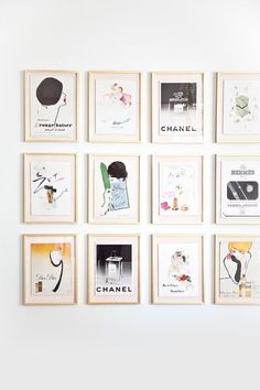 A couture wall made created by framing favorite fashion photos and magazine covers. Love this idea!