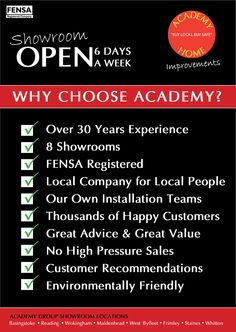 Why Choose Academy for your #windows #doors #conservatories #fascia #soffit #kitchens #bedrooms home improvements? http://www.academywindows.co.uk/?page=Reading
