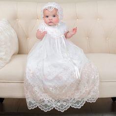 Girls Cotton Christening Gowns: Joli Christening Gown Full Length