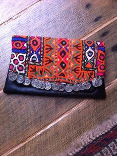 Handmade Vintage Textile Leather Banjara Clutch - Bohemian Ethnic Coin Clutch