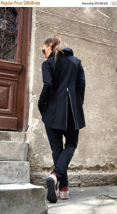 SALE NEW Collection Black Zipper Blazer / Spring Summer Coat