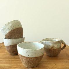 hand built espresso cup / stoneware / organic / partly glazed