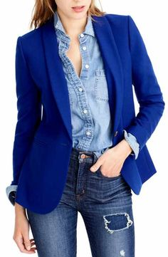 buy popular 9aea1 7ada9 J.Crew Parke Blazer (Regular   Petite) Chambray Blazer, Blue Blazer Outfit