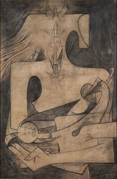 Wifredo Lam, Maternity, 1951, oil and charcoal on canvas. Johnson Museum of Art