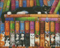 Heaven and Earth Designs Cat Double Shelf cross stitch design. On my wishlist! Love all these cat inspired book titles.