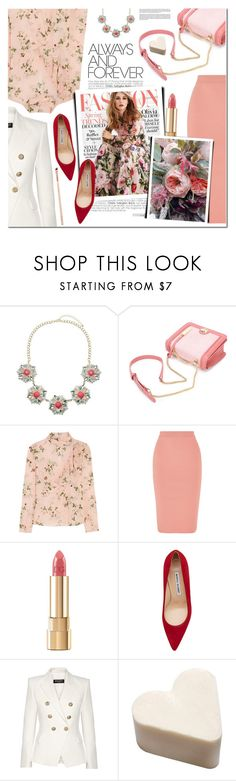 """""""Floral"""" by a-a-nica ❤ liked on Polyvore featuring Lipsy, Topshop Unique, STELLA McCARTNEY, Dolce&Gabbana, Manolo Blahnik and Balmain"""