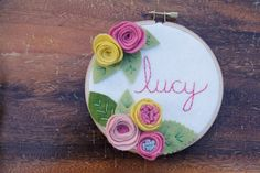 Kids Personalized - Embroidery Hoop Art - Felt Flowers - Embroidered Name Sign by Catshy Crafts