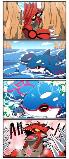 Groudon looking for Kyogre and feeling betrayed when he sees a cute little Spheal stealing Kyogre's heart #FunnyPokemonImages