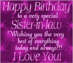 Happy Birthday sister in-law