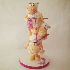 "Tower Cake ""Funny Cheep"" by Puckycakes, Wedding Cakes With Cupcakes, Fondant Cupcakes, Wedding Cakes With Flowers, Cupcake Cakes, Flower Cakes, Cupcake Toppers, Farm Animal Cakes, Animal Cupcakes, Gravity Defying Cake"