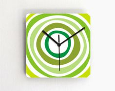 Green wall clock avocado olive minty lemon lime green kitchen clock living room clock simple modern wall clock wall hanging home and living