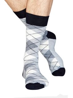 Happy Socks Argyle Sock in Black/Grey/White Unique Socks, Argyle Socks, Designer Socks, Happy Socks, Nice Tops, Grey And White, Mens Fashion, Stylish, Classic