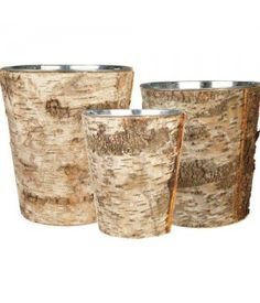 """Zinc Pot covered by Natural Birch Wood Wrap. Perfect for both indoor and outdoor use. These containers can easily be the top choice for outdoor wedding decoration. This is set of 3 pcs, which you are getting one Large Pot, one Medium Pot and one Small Pot, all wrapped in Natural Birch Wood Sheets. Large: H-9 Open D-8"""" Medium: H-8"""" Open D-7"""" Small: H-7"""" Open D-6"""" """""""